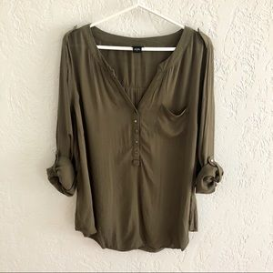 Torrid Popover Rolled Sleeve Military Style Top 2X